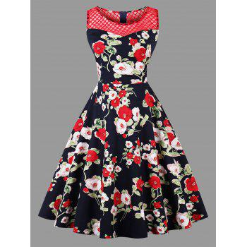 Floral Print Plus Size Mesh Panel Dress - RED RED