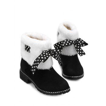 Fake Fur Ankle Boots with Bow Accent - BLACK 35