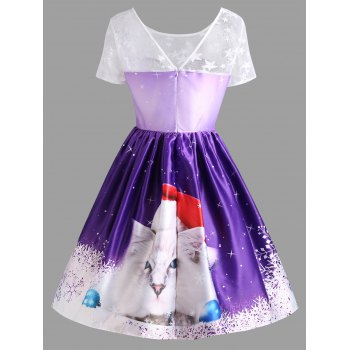 Christmas Cat Print Lace Panel Vintage Dress - PURPLE M