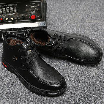 Lace Up Artificial Leather Casual Shoes - BLACK 43