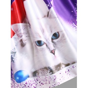 Christmas Cat Print Lace Panel Vintage Dress - PURPLE PURPLE