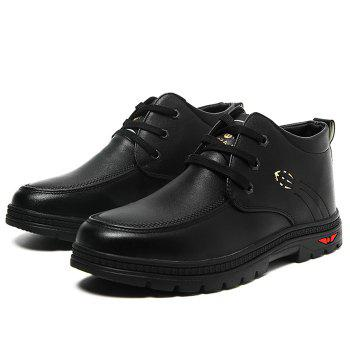 Lace Up Artificial Leather Casual Shoes - BLACK BLACK