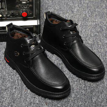 Lace Up Artificial Leather Casual Shoes - BLACK 44