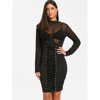 Criss Cross Mesh Insert Bodycon Dress - BLACK S