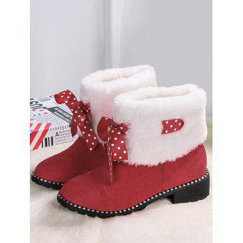 Fake Fur Ankle Boots with Bow Accent - RED 36