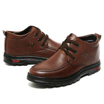 Lace Up Artificial Leather Casual Shoes - BROWN 42