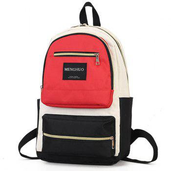 Letter Multi Pockets Backpack -  RED
