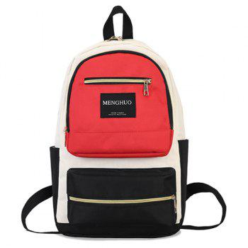 Letter Multi Pockets Backpack - RED RED