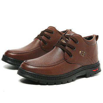 Lace Up Artificial Leather Casual Shoes - BROWN 39