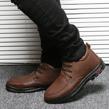 Lace Up Artificial Leather Casual Shoes - BROWN 40