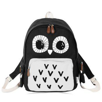 Color Block Owl Print Backpack - BLACK BLACK