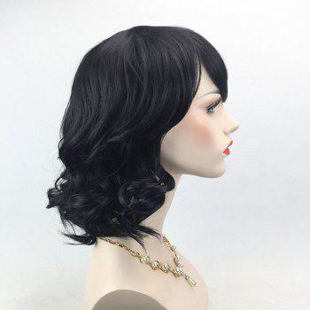Medium Inclined Bang Curly Synthetic Wig - BLACK