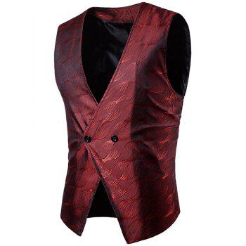 V Neck Two Button Vertigo Pattern Waistcoat - WINE RED WINE RED