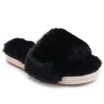 Espadrille Sole Faux Fur Slippers - BLACK BLACK