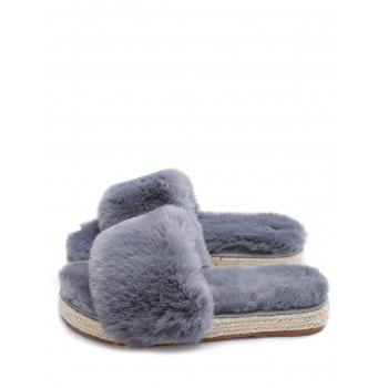 Espadrille Sole Faux Fur Slippers - GRAY 35