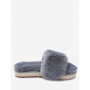 Espadrille Sole Faux Fur Slippers - GRAY GRAY