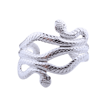 Multilayered Punk Snake Shape Cuff Bracelets - SILVER