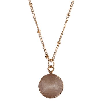 Natural Stone Round Pendant Necklace -  BEIGE