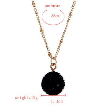 Natural Stone Round Pendant Necklace -  BLACK