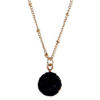 Natural Stone Round Pendant Necklace - BLACK BLACK