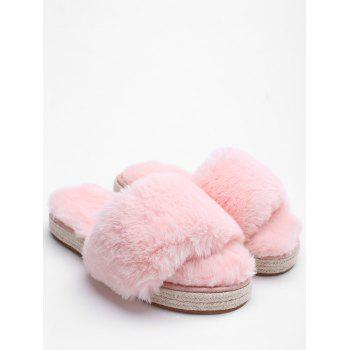 Espadrille Sole Faux Fur Slippers - LIGHT PINK 37