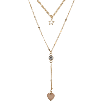 Natural Stone Heart Star Layered Necklace -  BEIGE