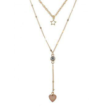 Natural Stone Heart Star Layered Necklace - BEIGE BEIGE