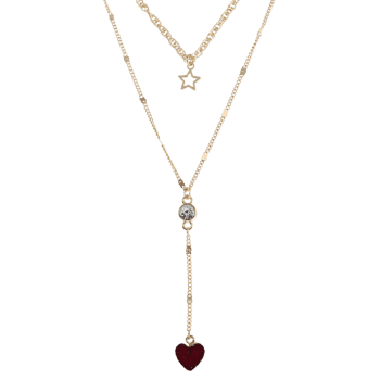 Natural Stone Heart Star Layered Necklace -  VALENTINE