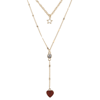 Natural Stone Heart Star Layered Necklace -  MOCHA