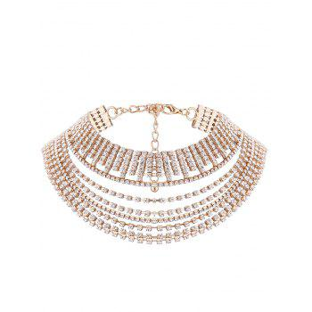 Multilayered Faux Crystal Chokers Necklace - GOLDEN GOLDEN