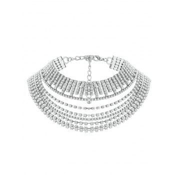 Multilayered Faux Crystal Chokers Necklace - SILVER SILVER