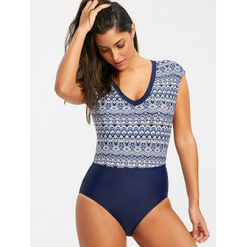 Cap Sleeve Bohemian High Cut One Piece Swimwear - BLUE/BLACK M