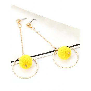 Metal Fuzzy Ball Circle Chain Drop Earrings - YELLOW