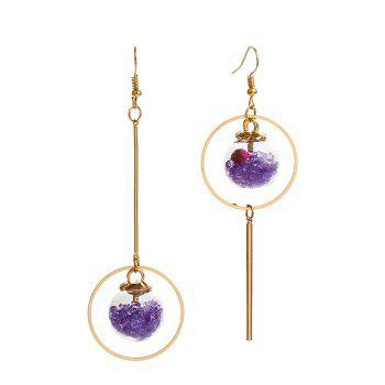 Asymmetric Glass Flower Circle Bar Earrings - PURPLE PURPLE