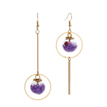 Asymmetric Glass Flower Circle Bar Earrings -  PURPLE