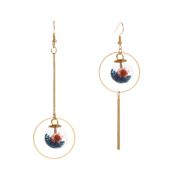 Asymmetric Glass Flower Circle Bar Earrings - BLUE