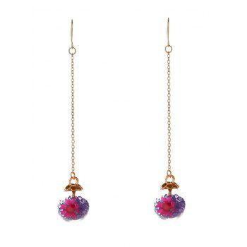 Unique Glass Flower Chain Hook Earrings - PURPLE PURPLE