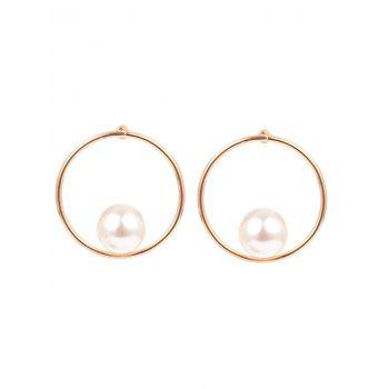 Statement Faux Pearl Alloy Circle Earrings - GOLDEN GOLDEN
