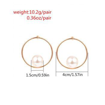 Statement Faux Pearl Alloy Circle Earrings - GOLDEN