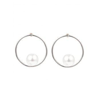 Statement Faux Pearl Alloy Circle Earrings - SILVER SILVER