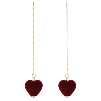 Velvet Heart Chain Drop Earrings - WINE RED