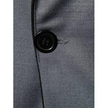 Flap Pocket One Button Shawl Collar Tuxedo - GRAY GRAY