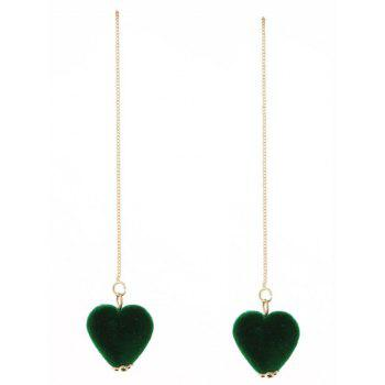 Velvet Heart Chain Drop Earrings - GREEN GREEN