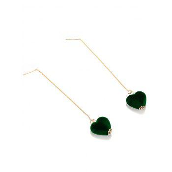 Velvet Heart Chain Drop Earrings - GREEN