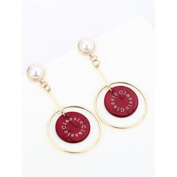 Faux Pearl Circle Disc Drop Earrings -  RED
