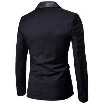 Flap Pocket One Button Shawl Collar Tuxedo - BLACK XL