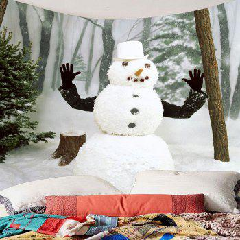 Winter Forest Snowman Printed Wall Art Tapestry - WHITE/GREEN W71 INCH * L71 INCH
