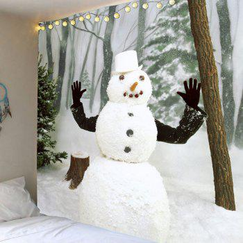 Winter Forest Snowman Printed Wall Art Tapestry - WHITE AND GREEN WHITE/GREEN