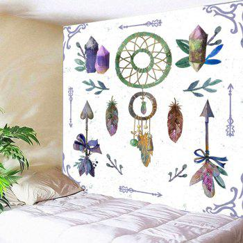 Arrows Feather Dreamcatcher Print Wall Art Tapestry - WHITE WHITE