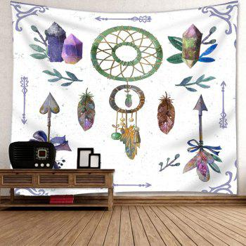 Arrows Feather Dreamcatcher Print Wall Art Tapestry - WHITE W79 INCH * L59 INCH
